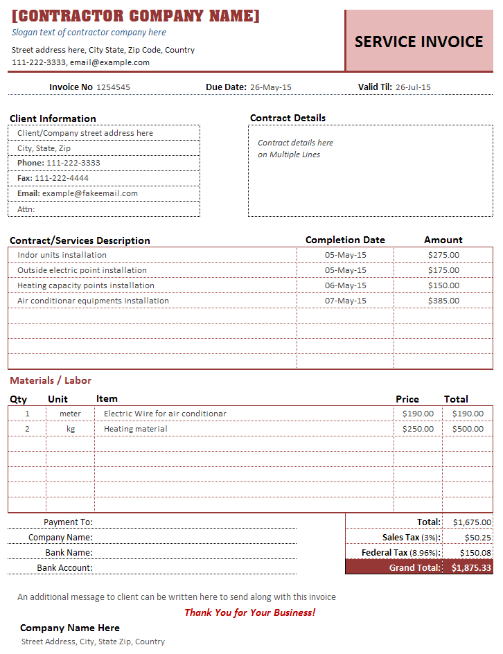 Contractor Invoice Template Sample