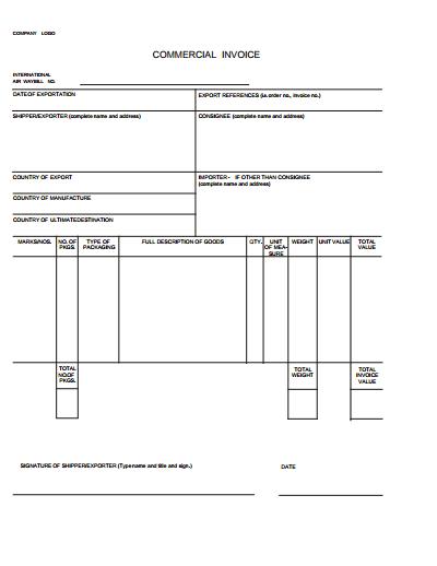 Printable Invoice Template Example PDF
