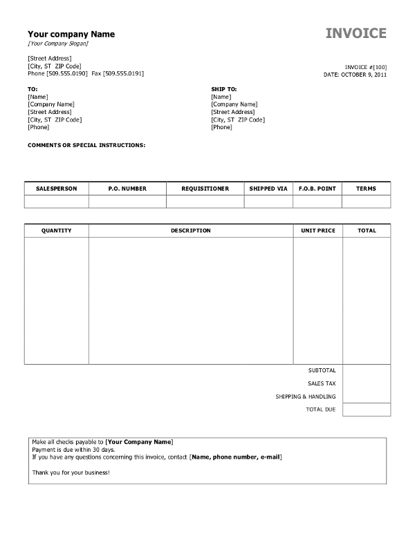 Simple Invoice Template Sample