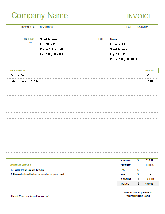Basic Invoice Template Sample