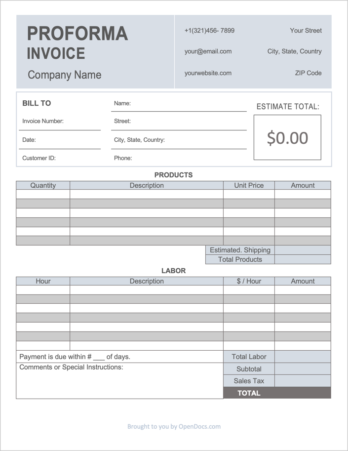 Proforma Invoice Template Sample
