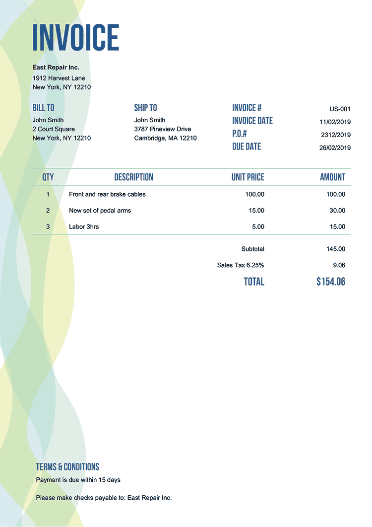Printable Invoice Template Sample