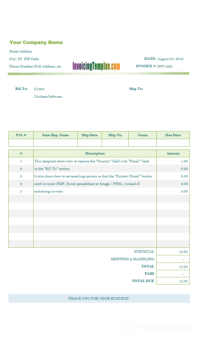Invoice Template for Email