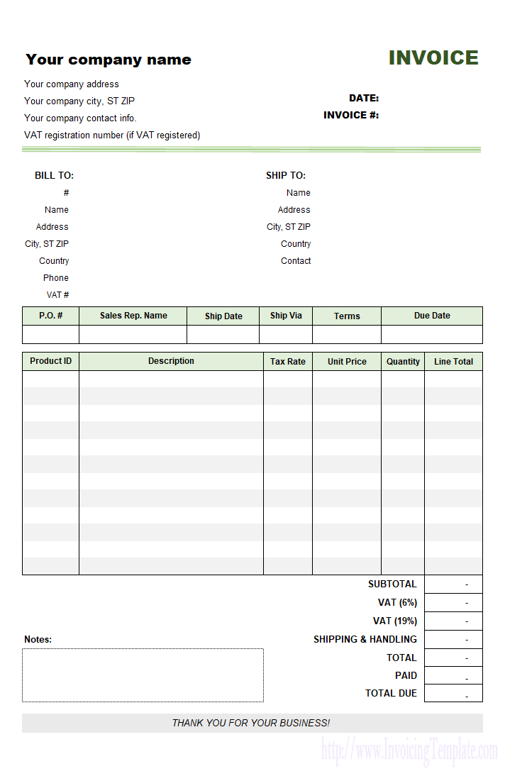 VAT Invoice Template Sample