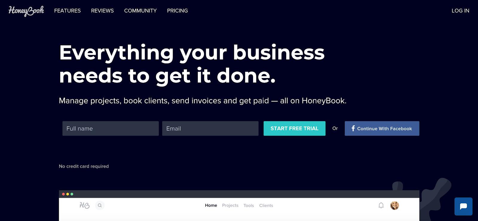 Honeybook homepage