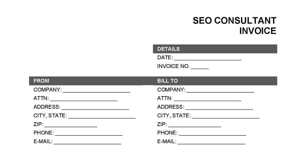 SEO Invoice Template Sample