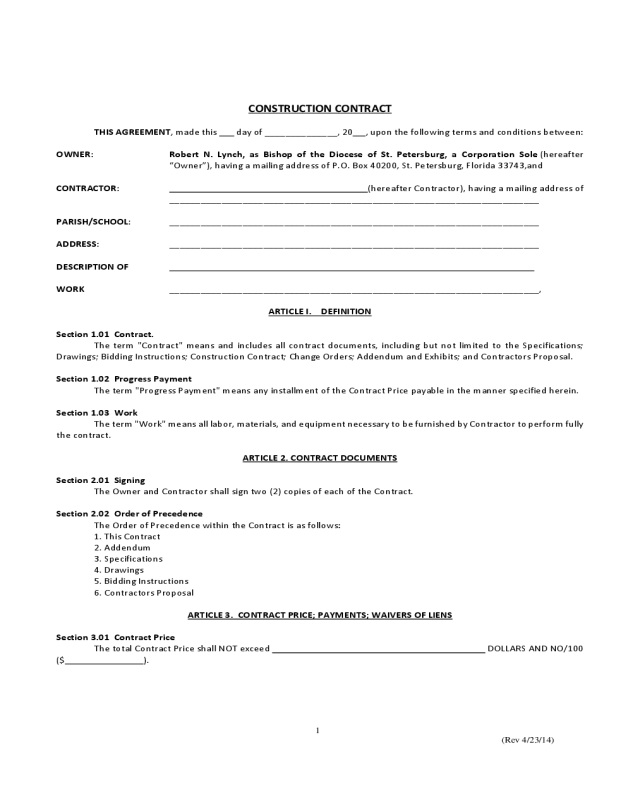 Simple Contract Template Sample