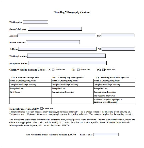 Videography Contract Template