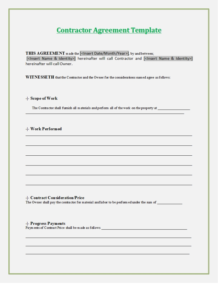 Electronic Contract Template Sample