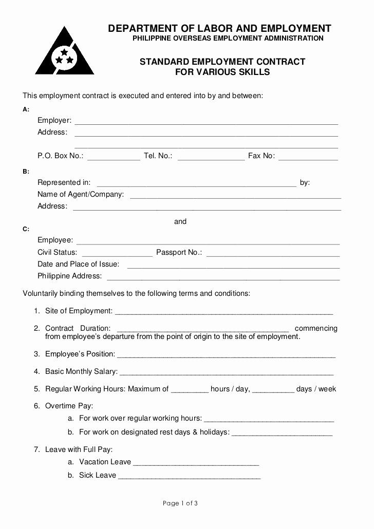 Standard Contract Template Sample