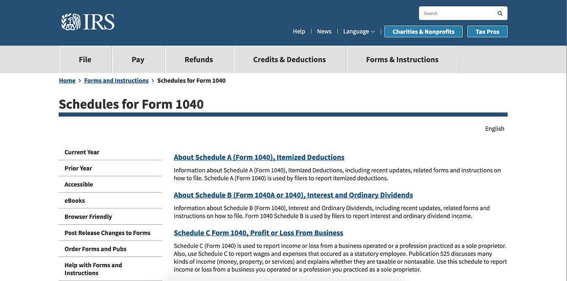 Screenshot of IRS Website & Form 1040