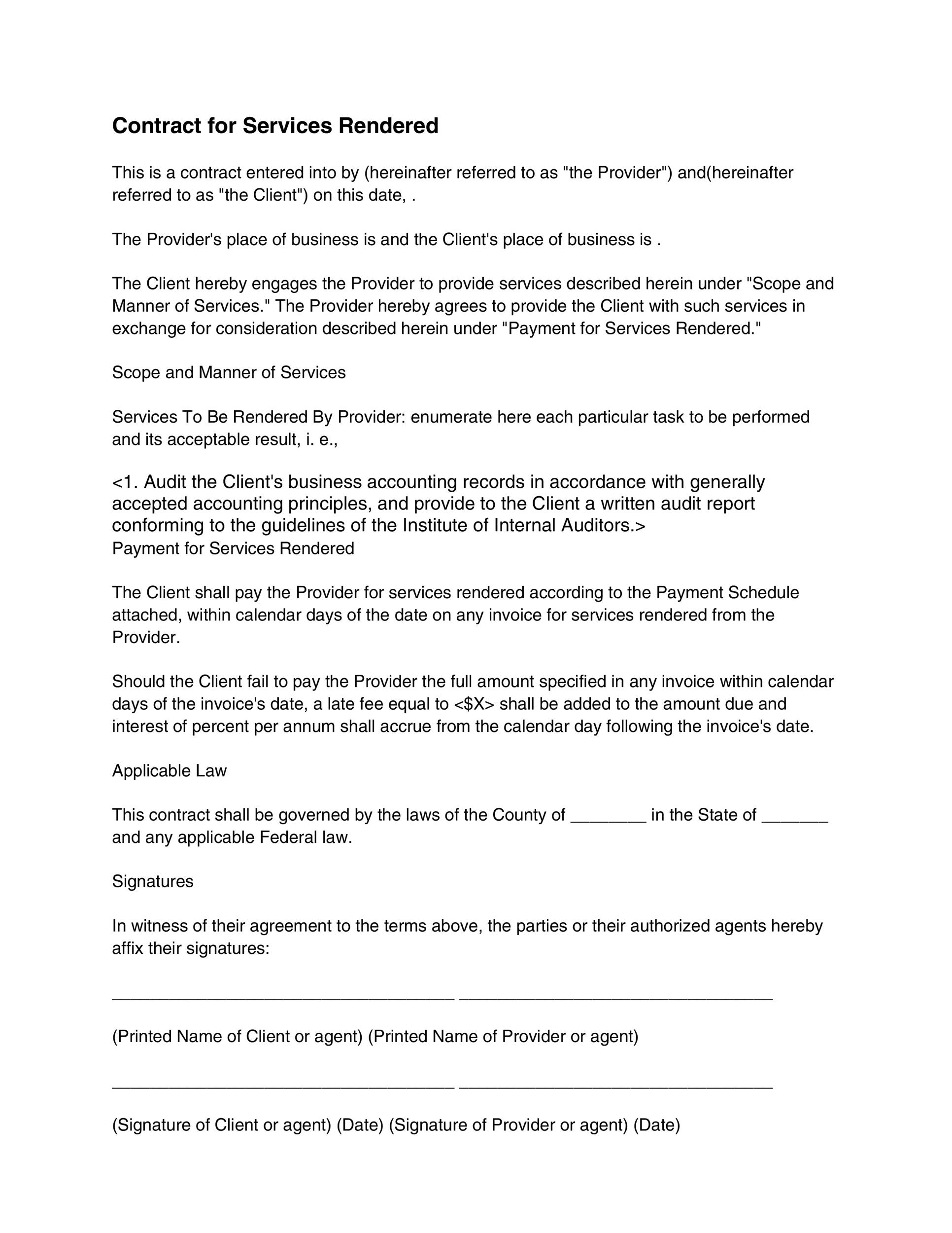 Downloadable Contract Template