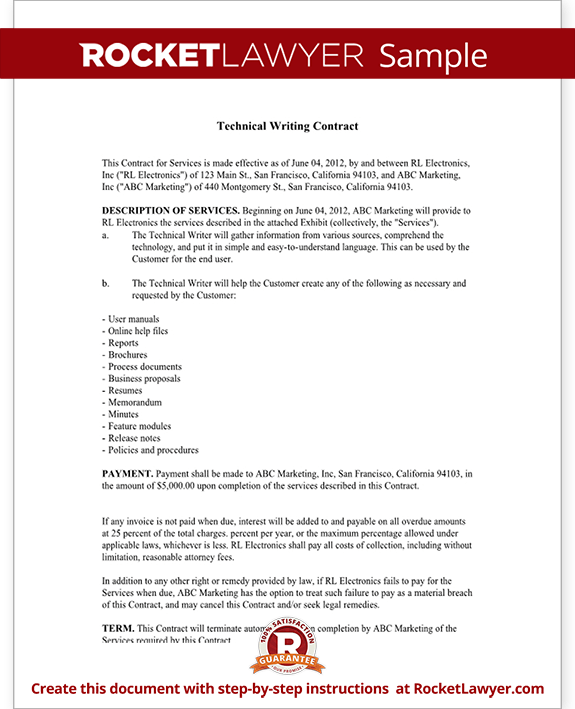 Technical Writer Contract Template Sample