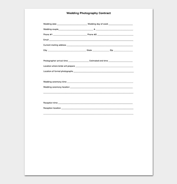 General Photography Contract Template PDF