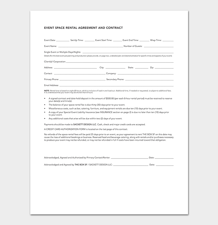 Event Design Contract Template