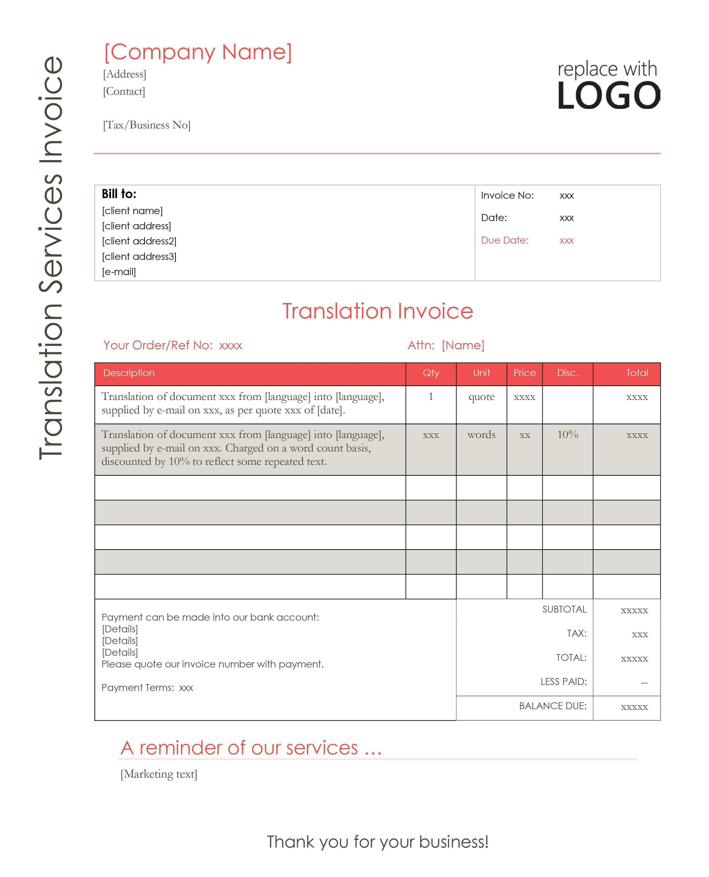 Interpreter Invoice Template