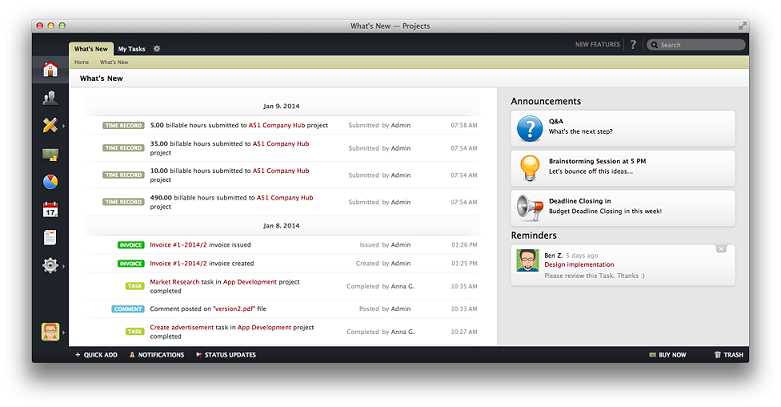 ActiveCollab dashboard