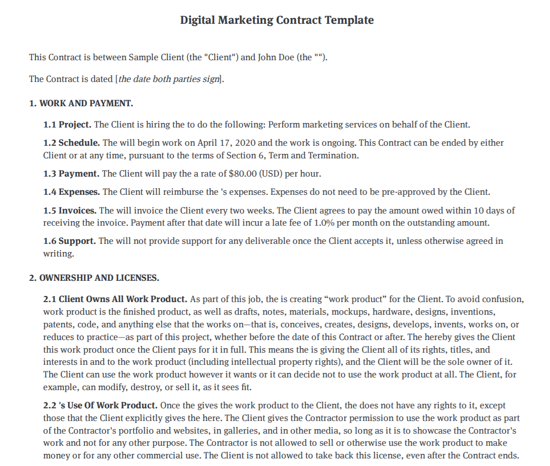 Bonsai digital marketing contract template