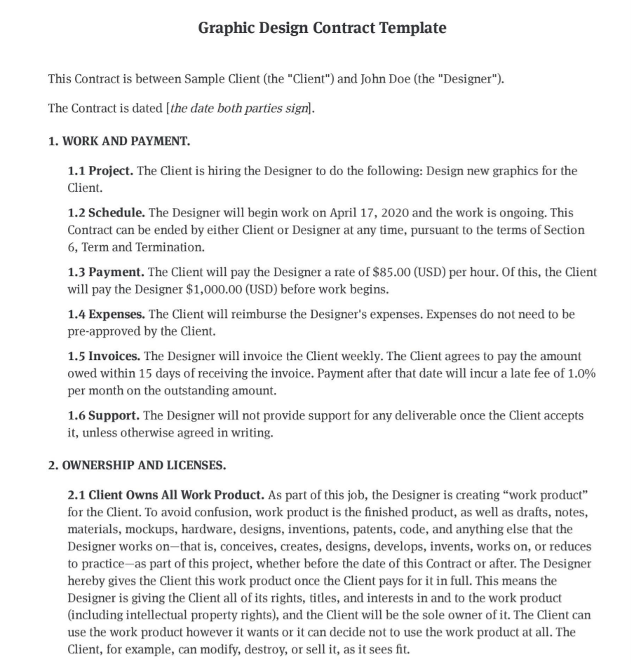 Graphic Design Contract Template Design Agreement Pdf Bonsai