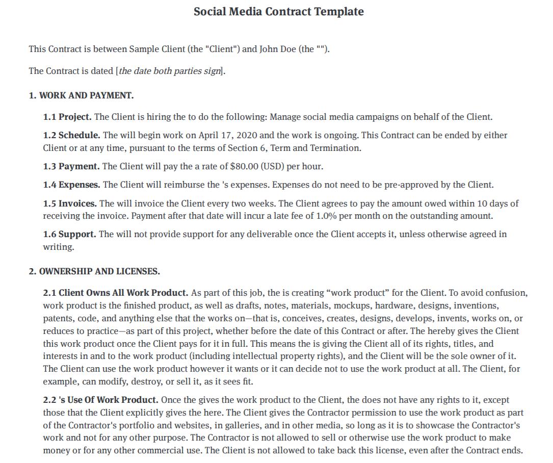 Bonsai social media contract template