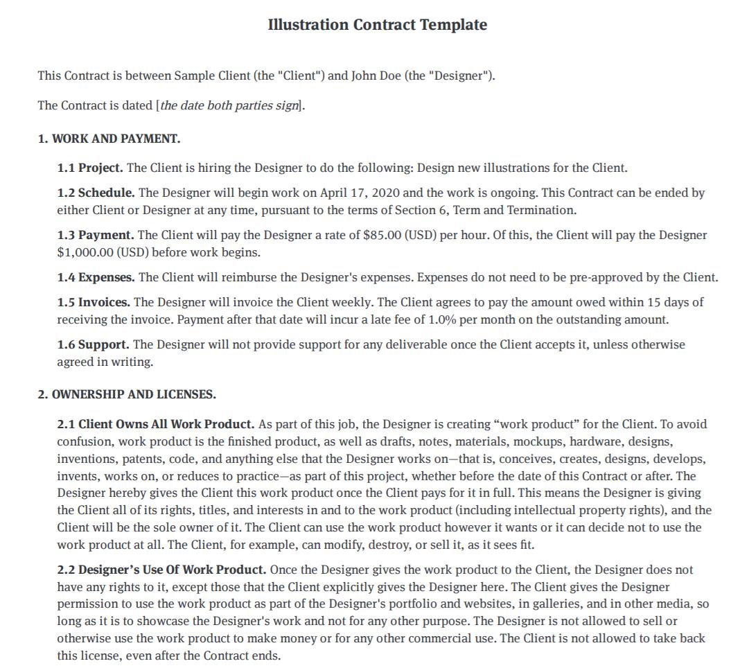 Illustration Contract Template Illustrator Agreement Template Bonsai
