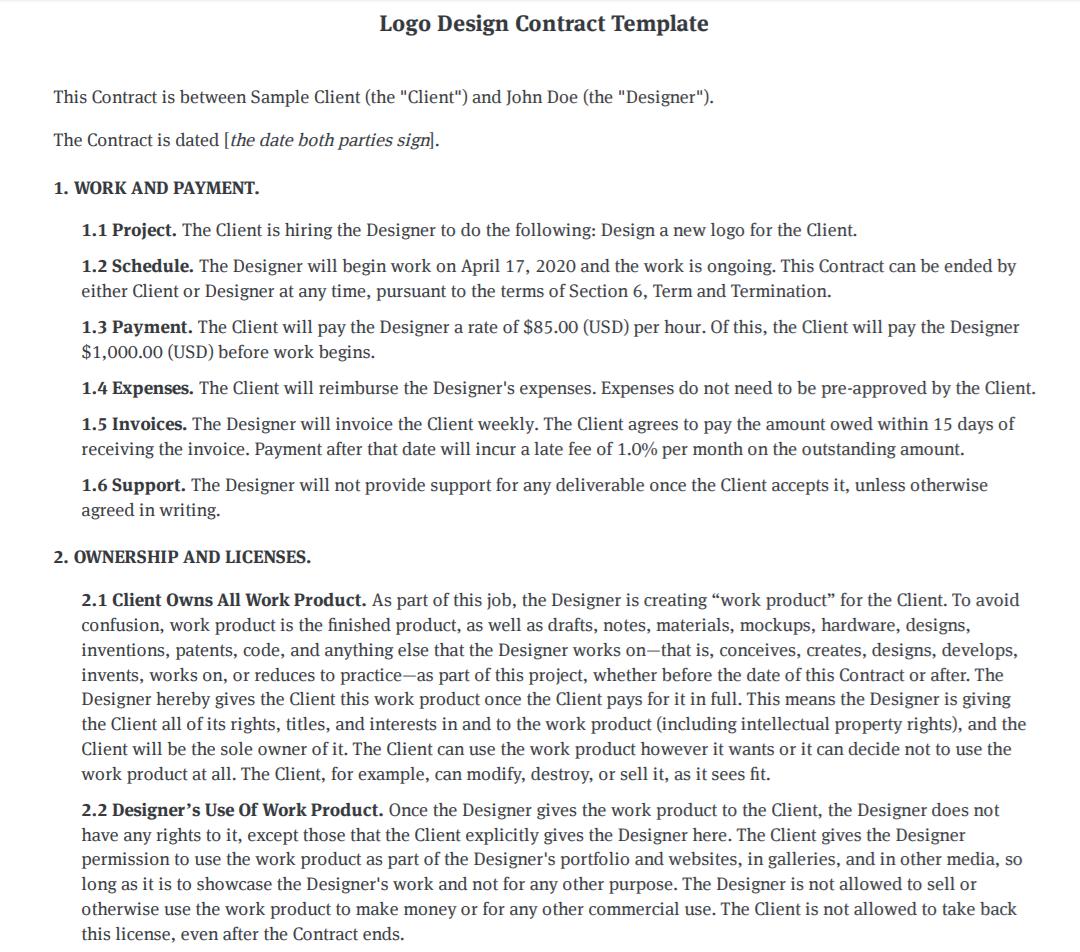 Bonsai logo design contract template