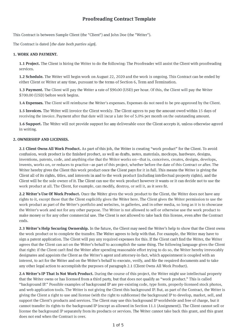 Proofreading Contract Template