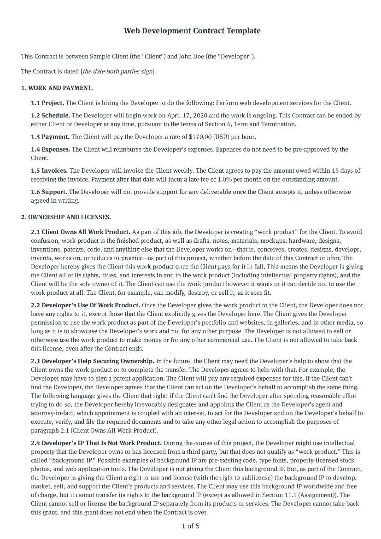 Web Development Contract Template