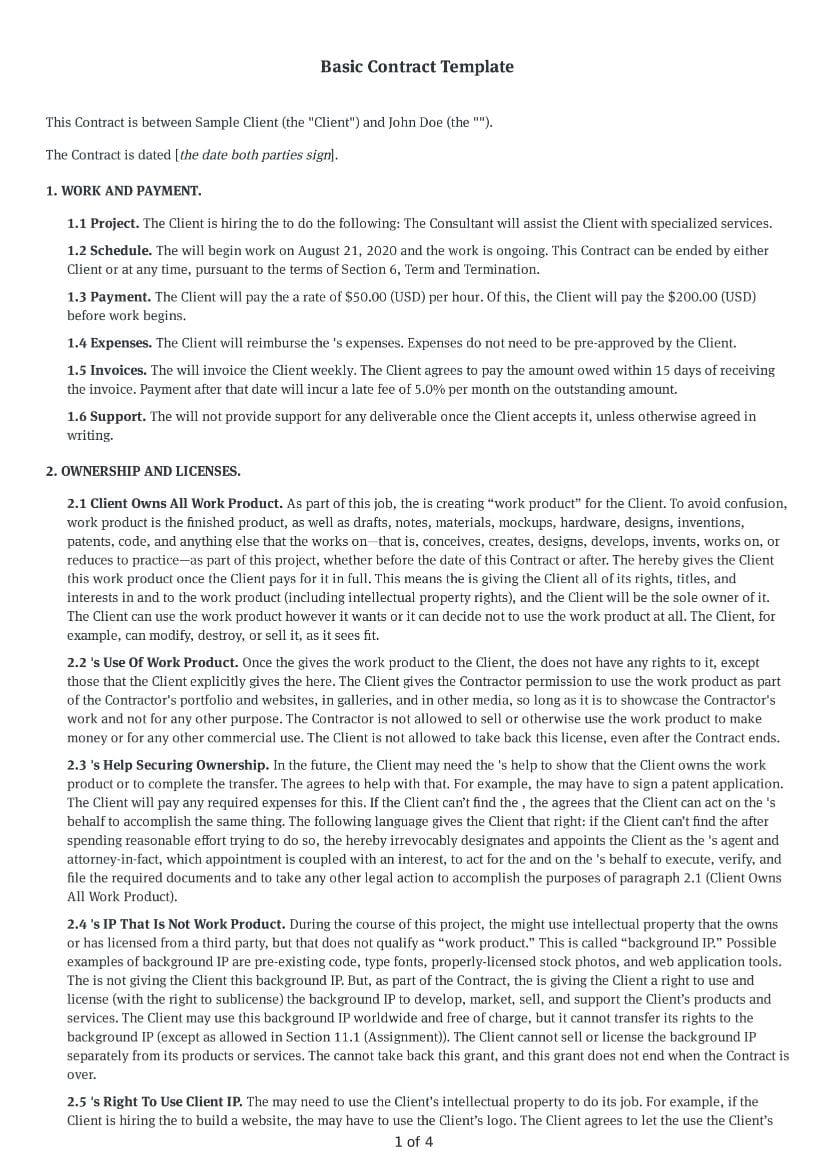Basic Contract Template