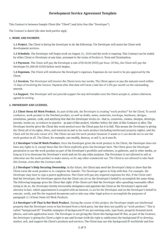 Development Service Agreement Template