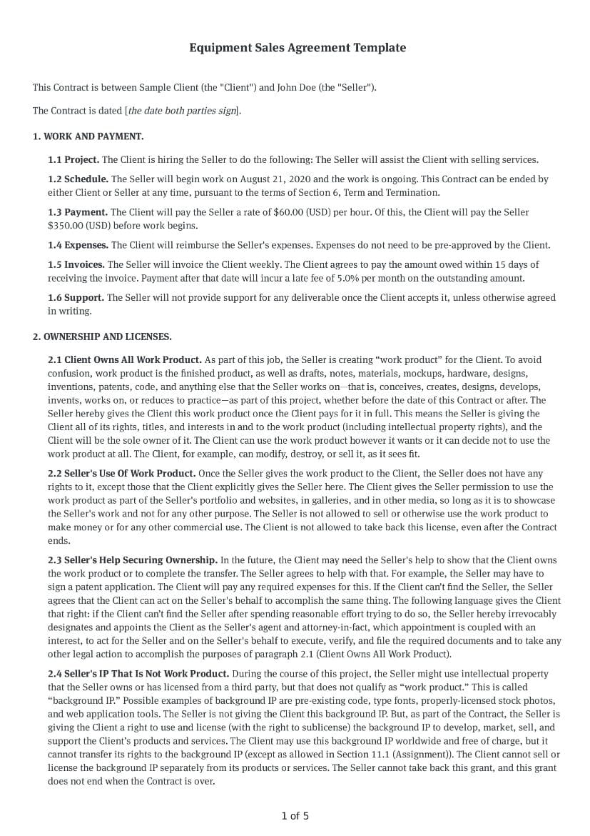Equipment Sales Agreement Template