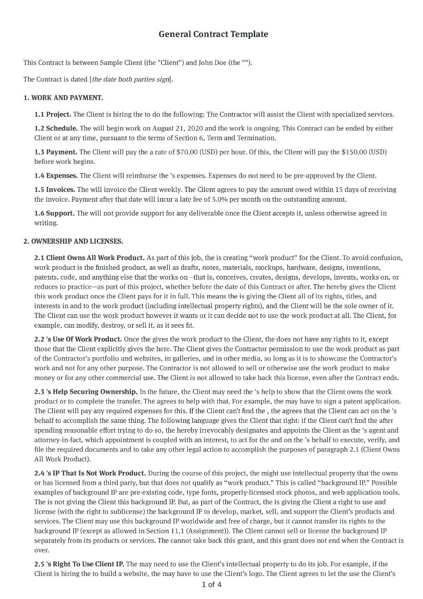 General Photography Contract Template