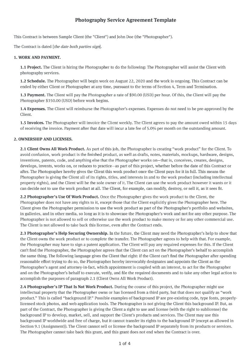 Photography Service Agreement Template