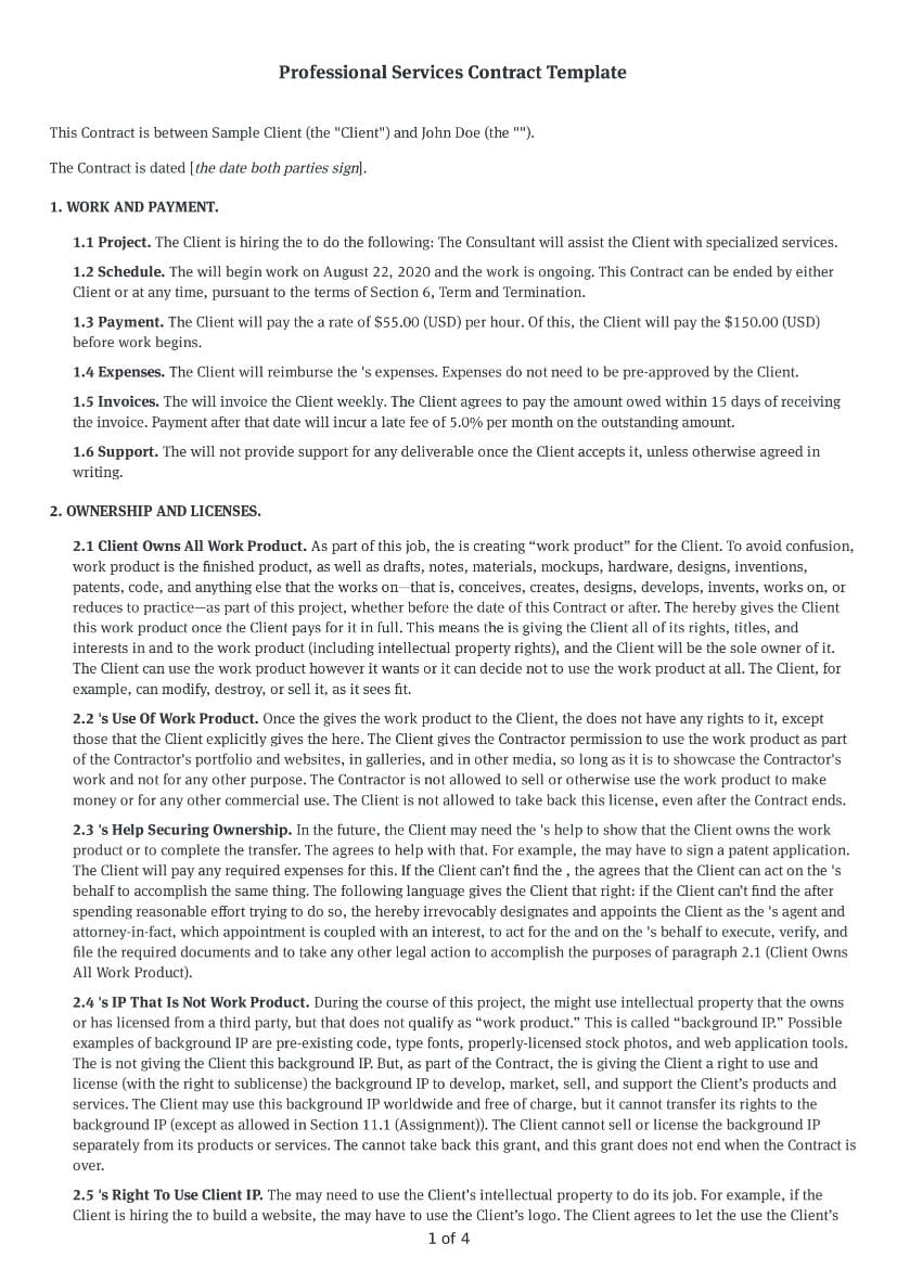 Professional Services Contract Template