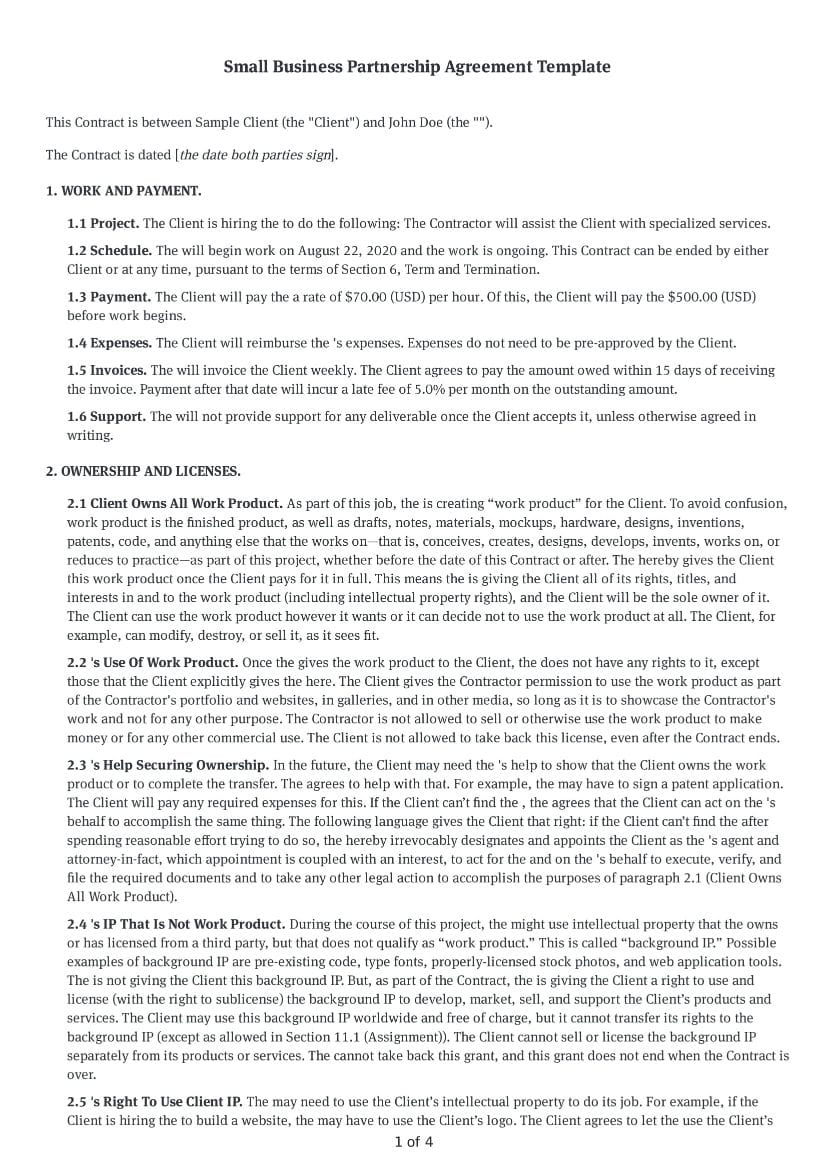 Small Business Partnership Agreement Template