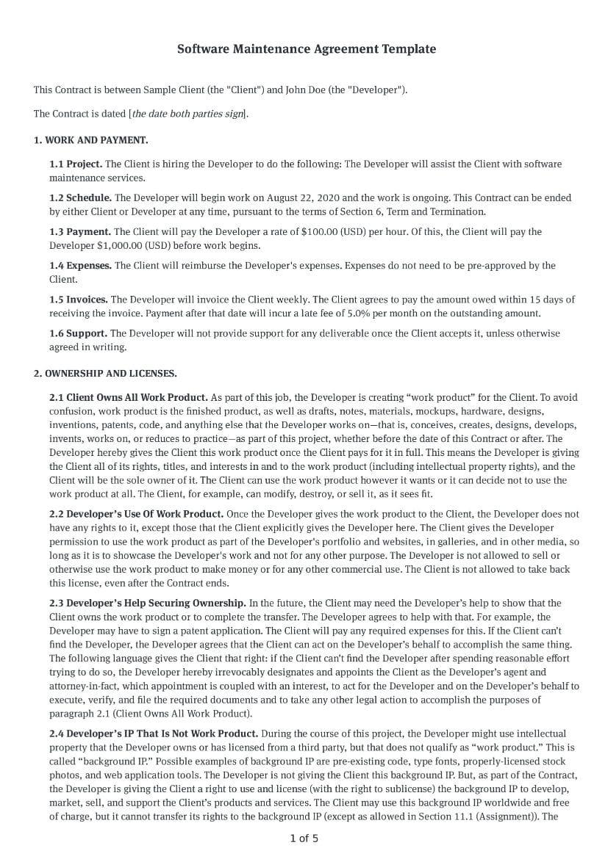 Software Maintenance Agreement Template
