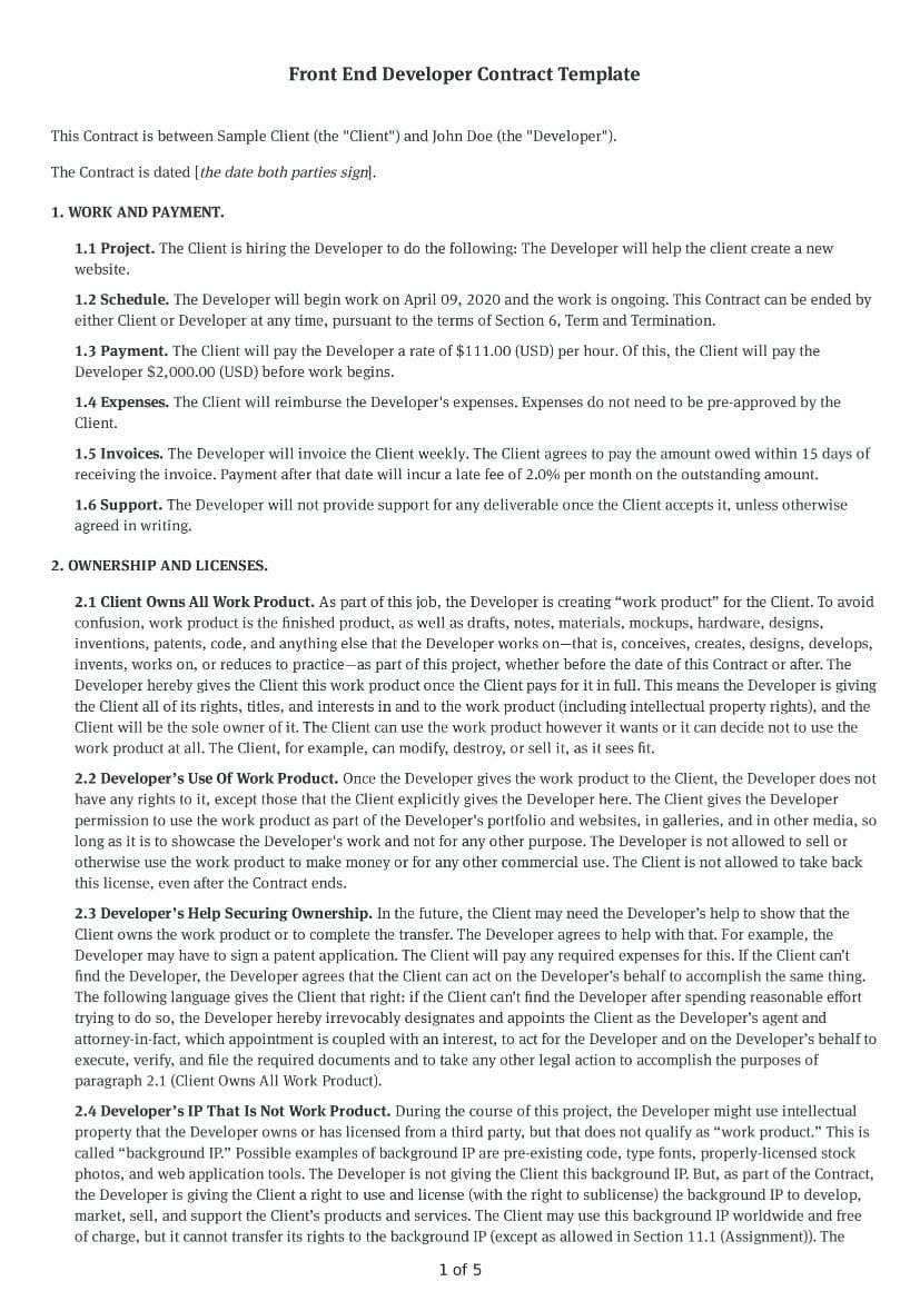 Front End Developer Contract Template