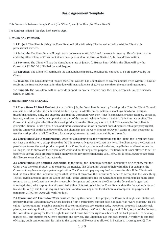 Basic Agreement Template