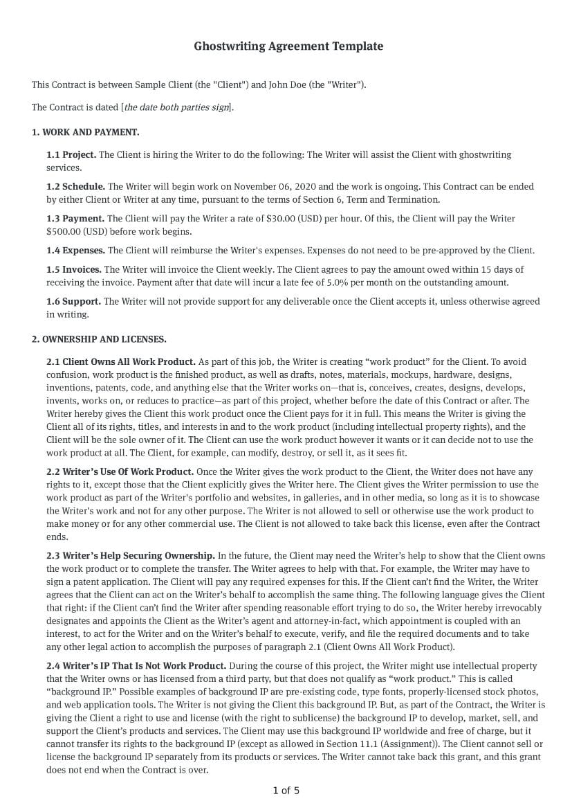 Ghostwriting Agreement Template