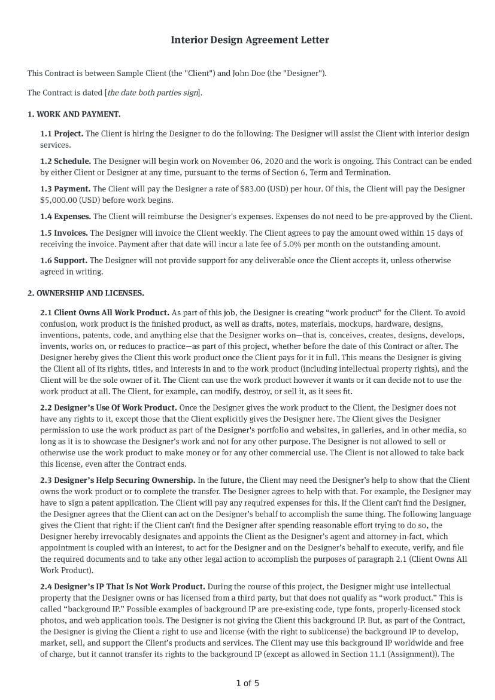 Interior Design Agreement Letter
