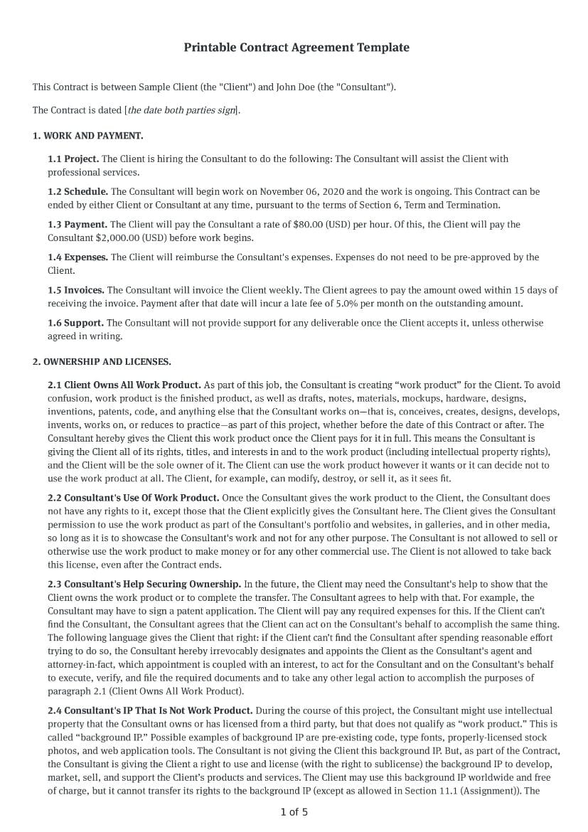 Printable Contract Agreement Template