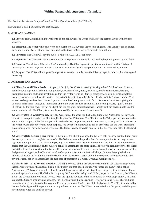 Writing Partnership Agreement Template