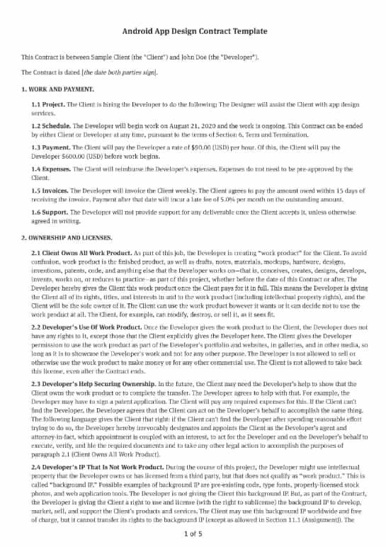Android App Design Contract Template