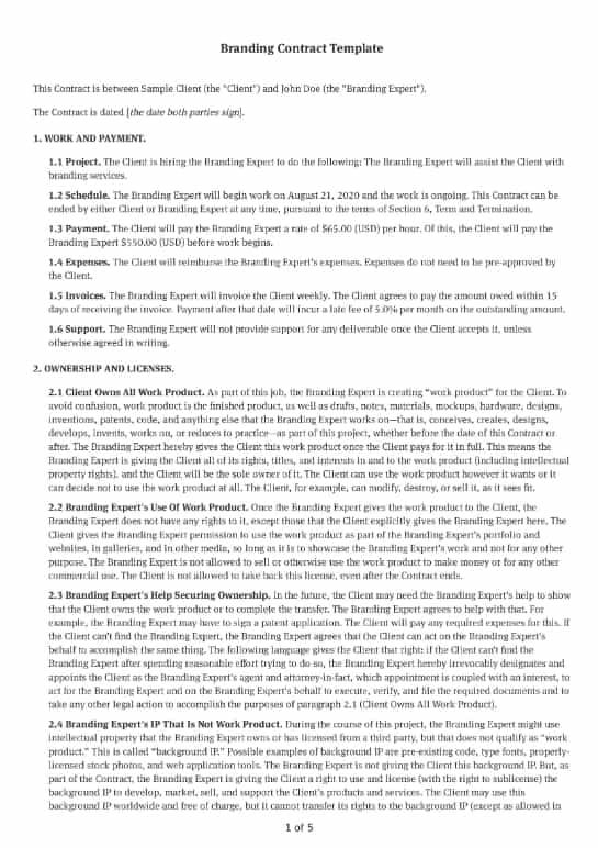 Branding Contract Template