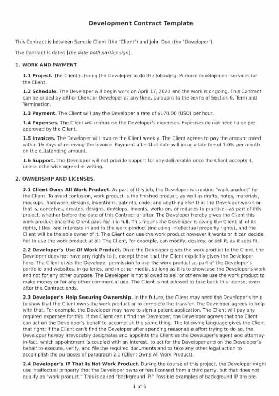 Development Contract Template