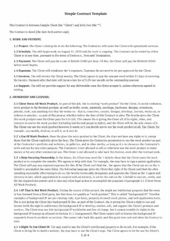 Simple Contract Template
