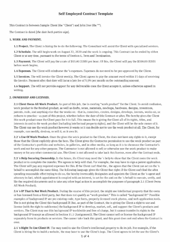 Self Employed Contract Template