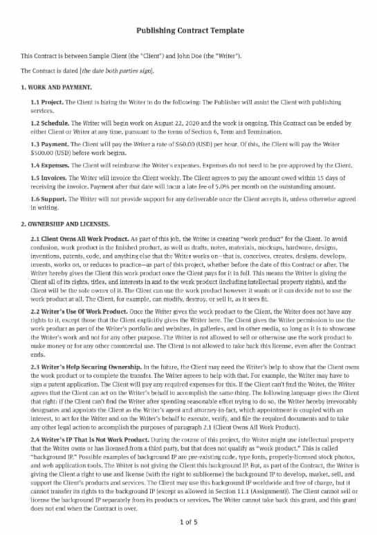 Publishing Contract Template