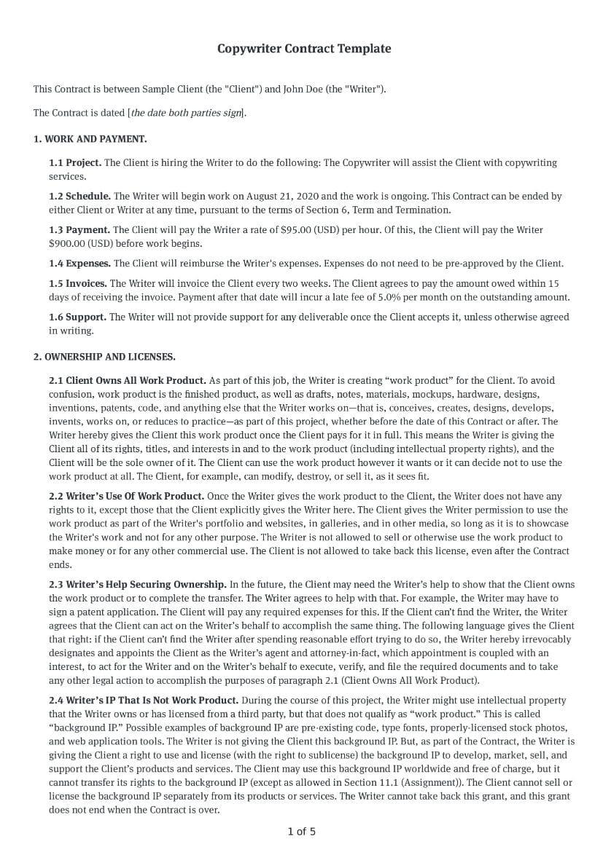 Copywriter Contract Template