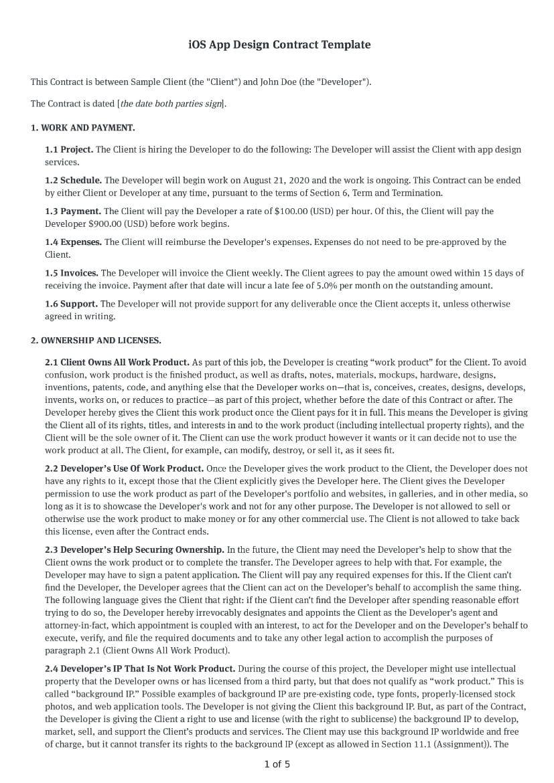 iOS App Design Contract Template